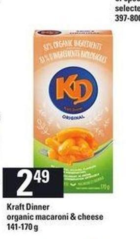 Kraft Dinner Organic Macaroni & Cheese - 141-170 g