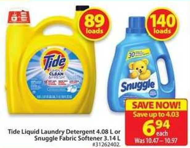 Tide Liquid Laundry Detergent 4.08 L or Snuggle Fabric Softener 3.14 L