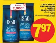 1850 Roast And Ground or Whole Bean Coffee - 340 g