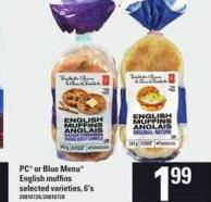 PC Or Blue Menu English Muffins - 6's