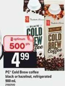 PC Cold Brew Coffee Black Or Hazelnut - 900 mL