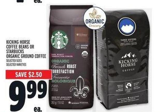 Kicking Horse Coffee Beans or Starbucks Organic Ground Coffee