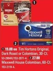 Keurig Tim Hortons Original - Dark Roast or Colombian