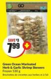 Green Ocean Marinated Herb & Garlic Shrimp Skewers Frozen 530 g