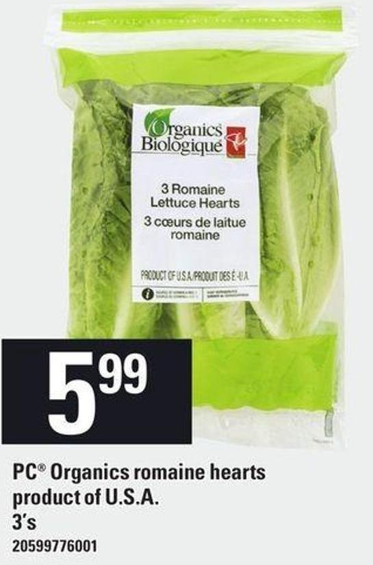 PC Organics Romaine Hearts - 3's