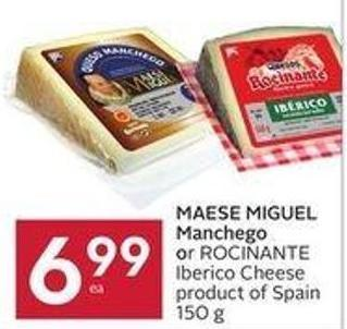 Maese Miguel Manchego or Rocinante Iberico Cheese Product of Spain 150 g