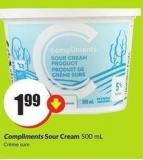Compliments Sour Cream 500 mL