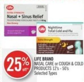 Life Brand Nasal Care or Cough & Cold Products 12's - 50's
