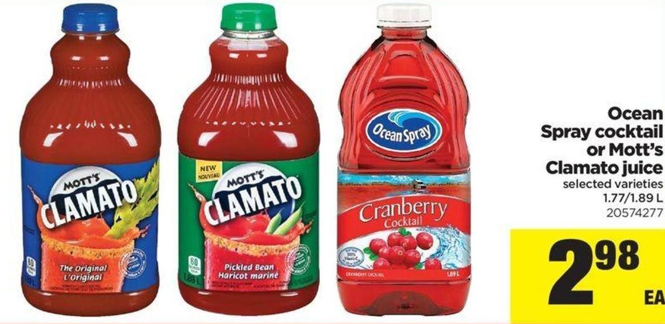 Ocean Spray Cocktail Or Mott's Clamato Juice - 1.77/1.89 L