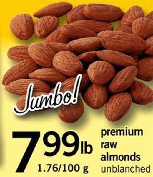 Premium Raw Almonds - 1.76/100 G