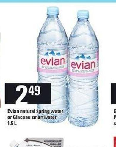 Evian Natural Spring Water Or Glaceau Smartwater - 1.5 L