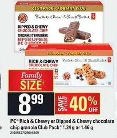 PC Rich & Chewy Or Dipped & Chewy Chocolate Chip Granola Club Pack - 1.24 G Or 1.46 G