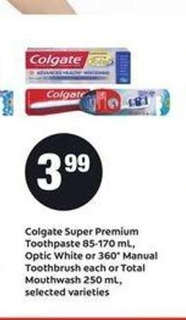 Colgate Super Premium Toothpaste - 85-170 Ml - Optic White Or 360° Manual Toothbrush Or Total Mouthwash - 250 Ml