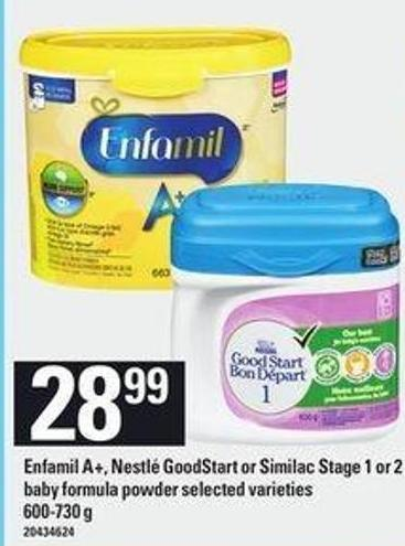 Enfamil A+ - Nestlé Goodstart Or Similac Stage 1 Or 2 Baby Formula Powder - 600-730 G