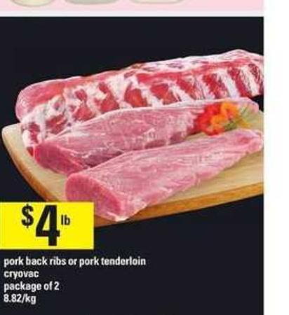 Pork Back Ribs Or Pork Tenderloin Cryovac - Package of 2