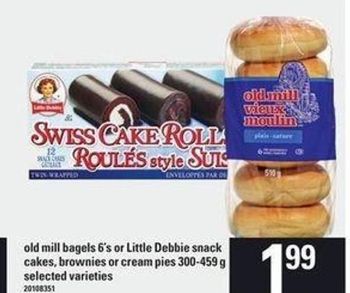 Old Mill Bagels - 6's Or Little Debbie Snack Cakes - Brownies Or Cream Pies - 300-459 G