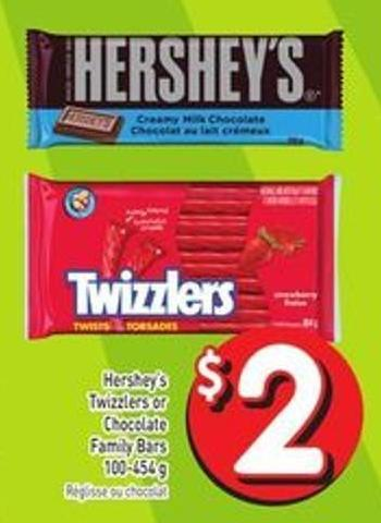Hershey's Twizzlers or Chocolate Family Bars 100-454 g