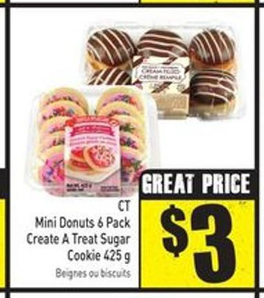 Mini Donuts 6 Pack Create A Treat Sugar Cookie 425 g