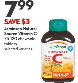 Jamieson Natural Source Vitamin C 75-120 Chewable Tablets
