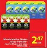 Minute Maid or Nestea Juices or Drinks