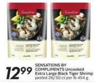 Sensations By Compliments Uncooked Extra Large Black Tiger Shrimp