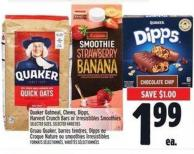 Quaker Oatmeal - Chewy - Dipps - Harvest Crunch Bars Or Irresistibles Smoothies