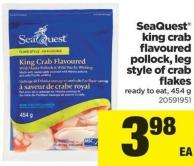 Seaquest King Crab Flavoured Pollock - Leg Style Of Crab Flakes - 454 g