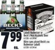 Labatt Budweiser Or Beck's Non Alcoholic Beer 6 X 330 - 6 X 341 ml
