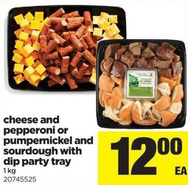 Cheese And Pepperoni Or Pumpernickel And Sourdough With Dip Party Tray - 1 Kg