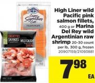 High Liner Wild Pacific Pink Salmon Fillets - 400 g Or Marina Del Rey Wild Argentinian Raw Shrimp - 300 g