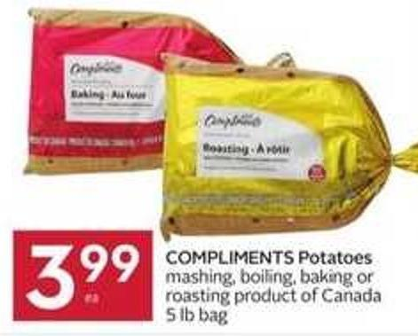 Compliments Potatoes Mashing - Boiling - Baking or Roasting Product of Canada 5 Lb Bag