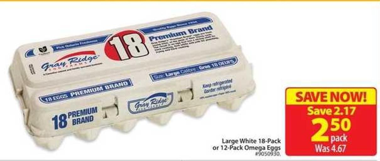 Large White 18-pack or 12-pack Omega Eggs