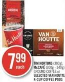 Tim Hortons (300g) - Mccafé (300g - 340g) Ground Coffee or Selected Van Houtte K-cup Coffee PODS