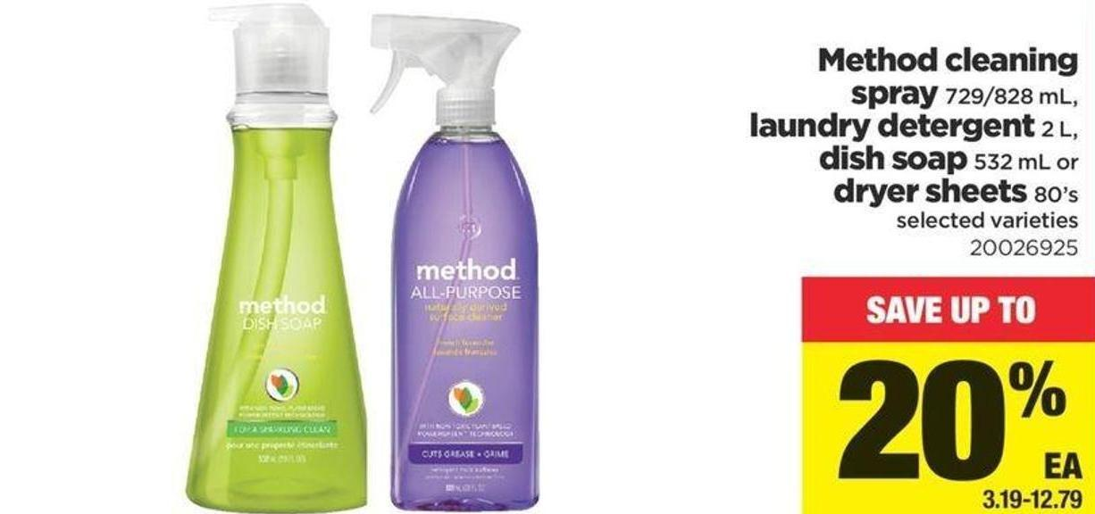 Method Cleaning Spray - 729/828 Ml - Laundry Detergent - 2 L - Dish Soap - 532 Ml Or Dryer Sheets - 80's