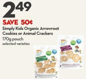Simply Kids Organic Arrowroot Cookies or Animal Crackers 170g Pouch