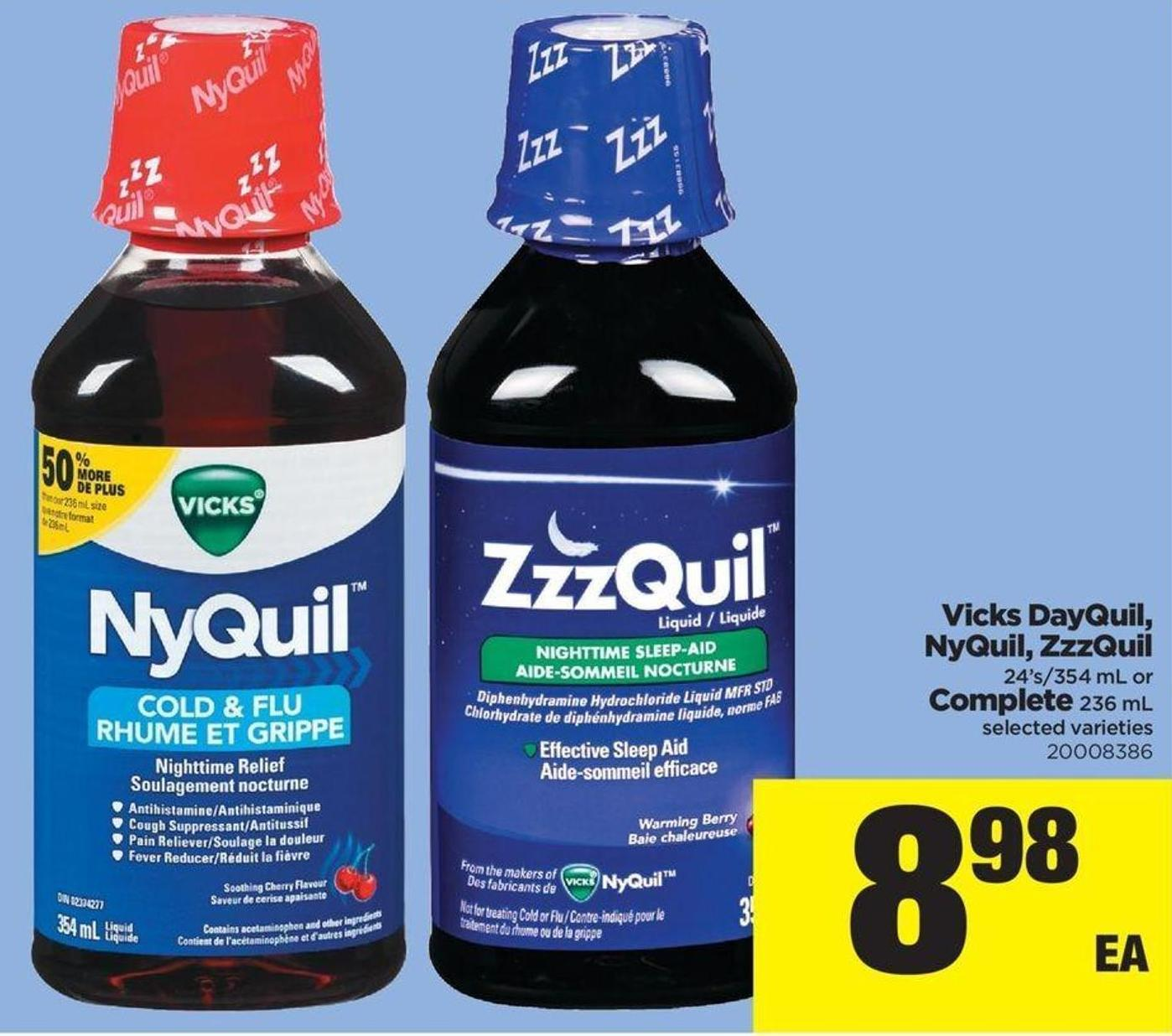 Vicks Dayquil - Nyquil - Zzzquil 24's/354 Ml Or Complete 236 Ml