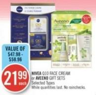 Nivea Q10 Face Cream or Aveeno Gift Sets