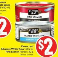 Clover Leaf Albacore White Tuna 170 g or Pink Salmon Flaked 142 g