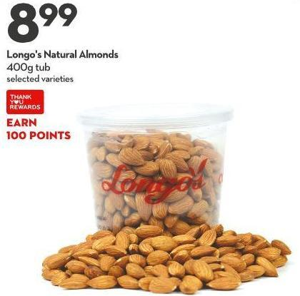 Longo's Natural Almonds 400g Tub