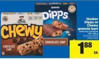 Quaker Dipps Or Chewy Granola Bars - 150-156 g