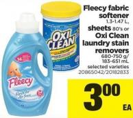 Fleecy Fabric Softener 1.3-1.47 L - Sheets 80's Or Oxi Clean Laundry Stain Removers 680-750 G/ 183-651 Ml