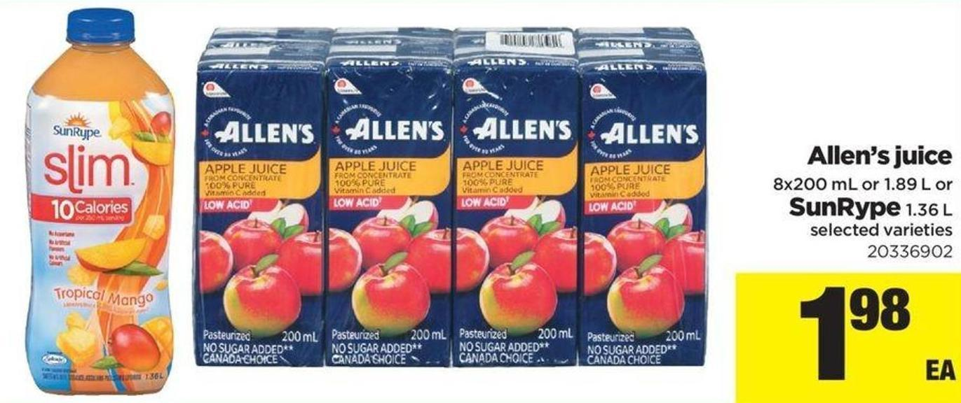 Allen's Juice 8x200 Ml Or 1.89 L Or Sunrype 1.36 L