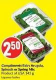 Compliments Baby Arugula - Spinach or Spring Mix Product of USA 142 g