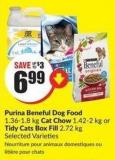 Purina Beneful Dog Food 1.36-1.8 Kg Cat Chow 1.42-2 Kg or Tidy Cats Box Fill 2.72 Kg