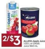 Allen's Apple Juice 1.05 L or Oasis Juice 960 mL
