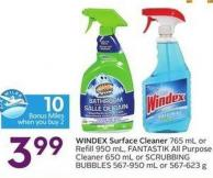 Windex Surface Cleaner 765 mL or Refill 950 mL - Fantastik All Purpose Cleaner 650 mL or Scrubbing Bubbles 567-950 mL or 567-623 g - 10 Air Miles Bonus Miles