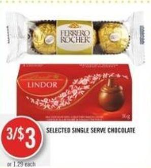 Selected Single Serve Chocolate