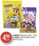 Cadbury Mini Eggs (148g - 154g) or M&m's Easter Candy (200g)