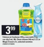 Febreze Air Freshener 250 G - Wax Melts 77 G - Car Clip 2 Ml - Mr. Clean Cleaner - 946 Ml/1.2 L Or Magic Erasers - 2's