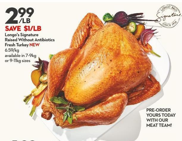 Longo's Signature Raised Without Antibiotics Fresh Turkey New